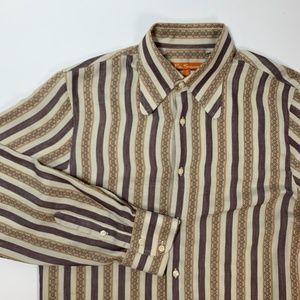 BEN SHERMAN Vintage Brown Stripe Button Shirt 2/M